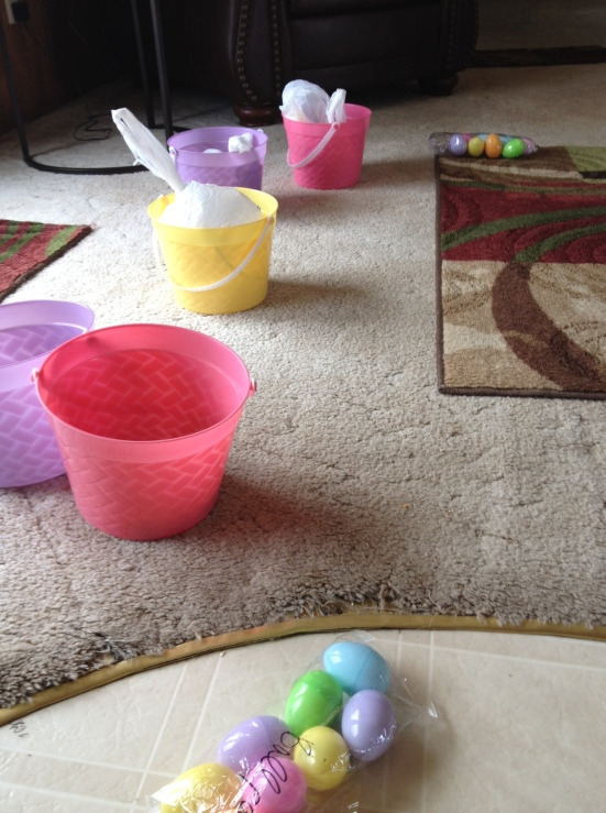 The Easter buckets we hid with the clues inside.